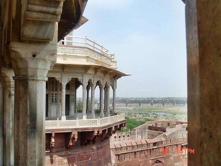 Agra:  pohled z pevnosti, návštěva Indie 30.3. – 3.4.2008