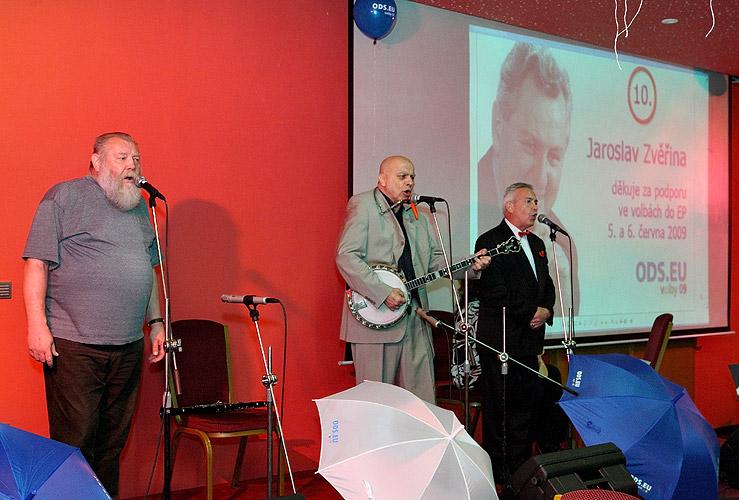 Ivo Pešák, Ivan Mládek a Milan Pitkin, Evropský večer 2009, čtvrtek 16. dubna 2009, foto: Lubor Mrázek