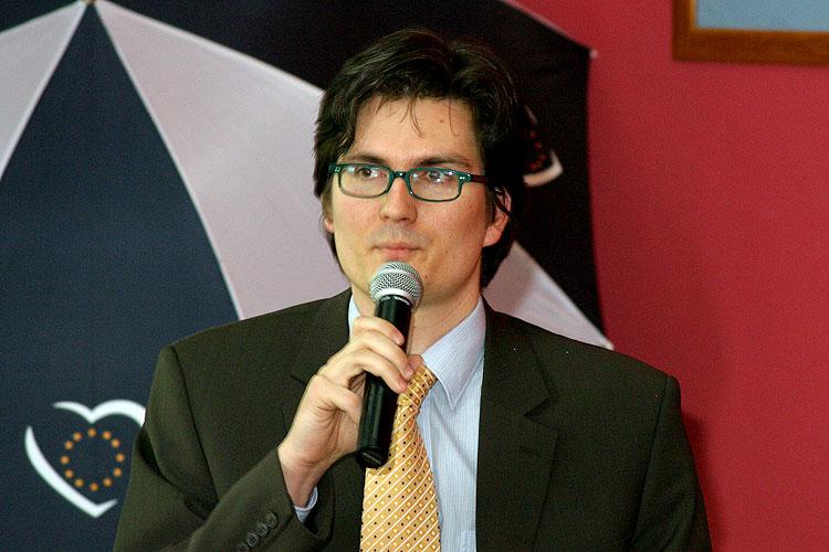 Michal Bosák, pracovní setkání pravicových komunálních politiků Jihočeského kraje, 10.4.2006, Hotel LÁZNĚ v Táboře – Čelkovicích, foto: Lubor Mrázek