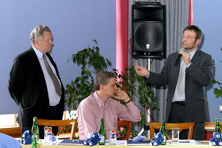 Jaroslav Zvěřina, Pavel Tychtl a Miroslav Daněk, pracovní setkání pravicových komunálních politiků Jihočeského kraje, 10.4.2006, Hotel LÁZNĚ v Táboře – Čelkovicích, foto: Lubor Mrázek