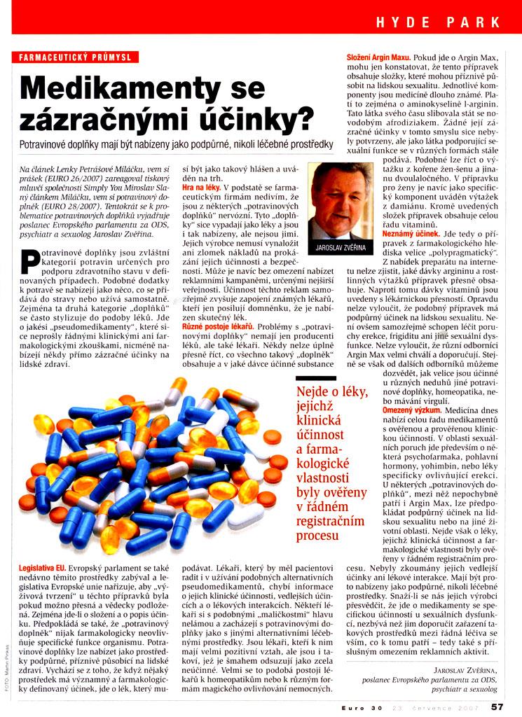 Medikamenty se zázračnými účinky?, EURO 30/2007, strana 57